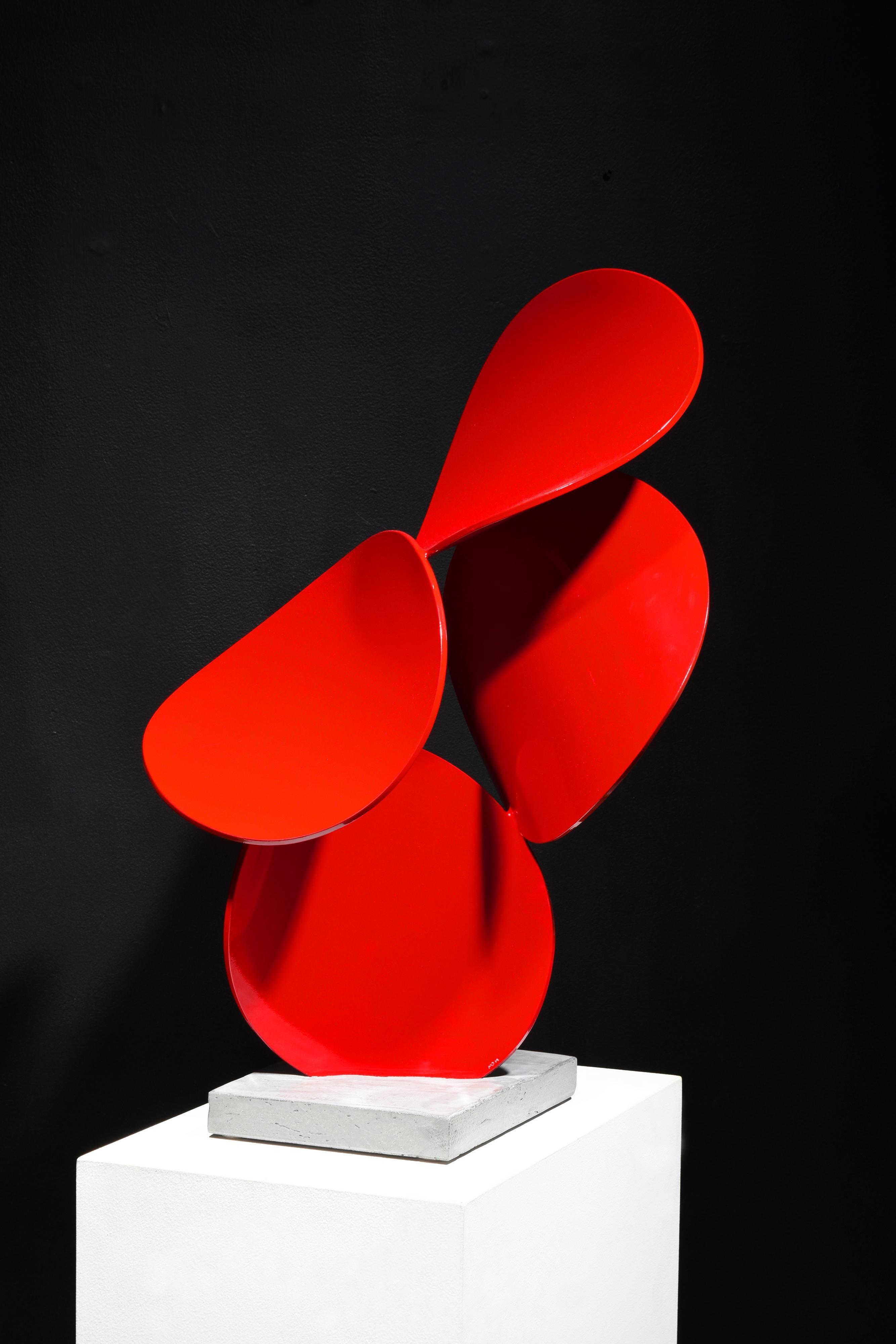 a x b #4, Matt Devine_2021_Red freestanding sculpture_abstract_Indoor/Outdoor