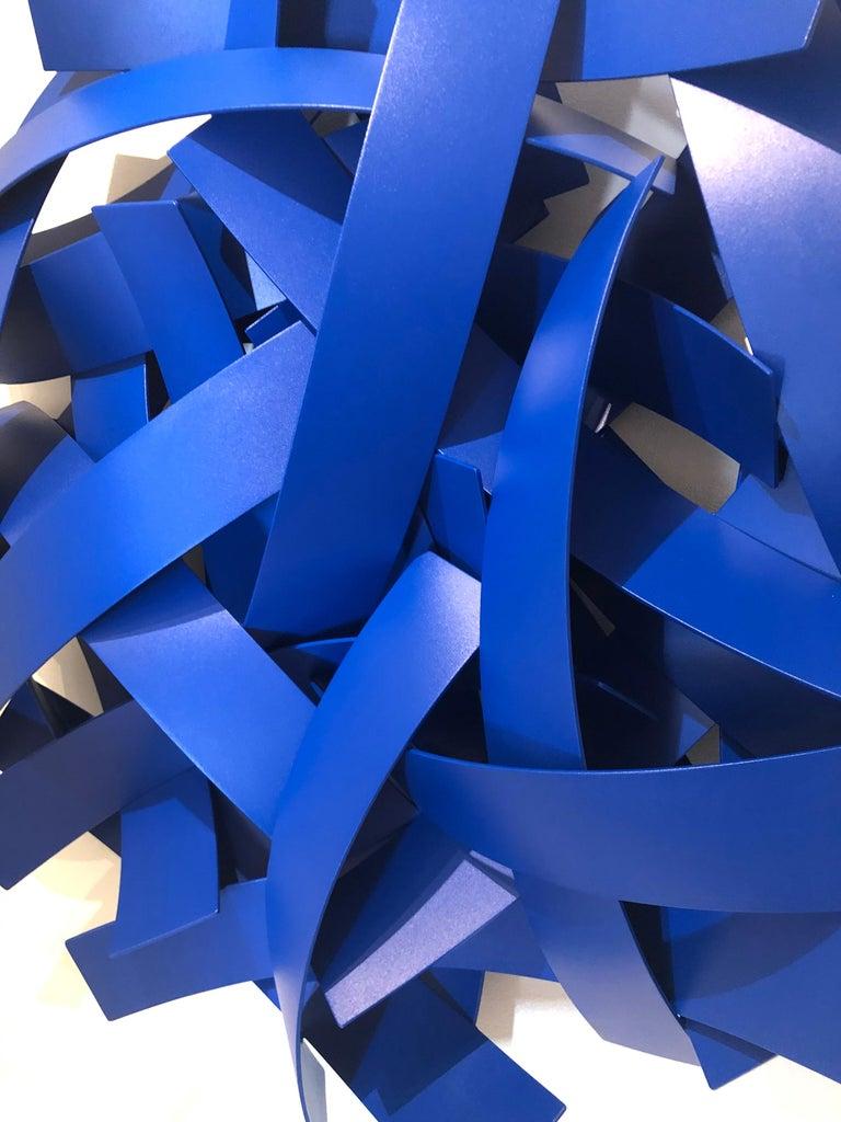 Blue Velvet, Matt Devine, Indoor/Outdoor Wall Sculpture, Aluminum, Blue Paint For Sale 2