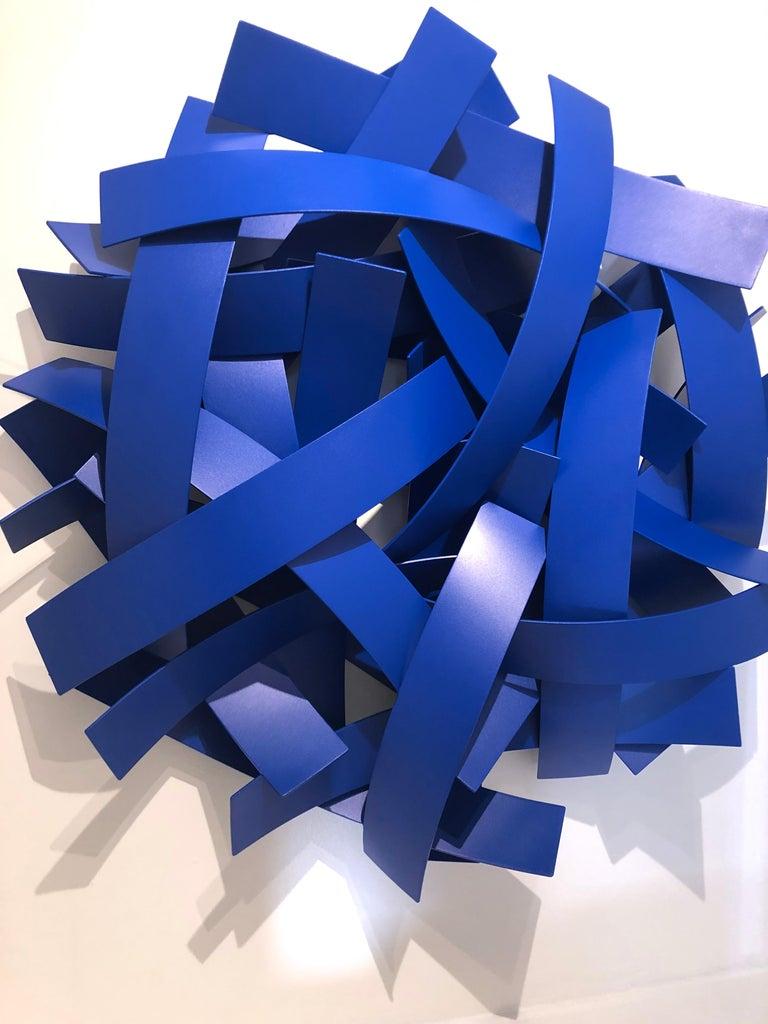 Blue Velvet, Matt Devine, Indoor/Outdoor Wall Sculpture, Aluminum, Blue Paint For Sale 3