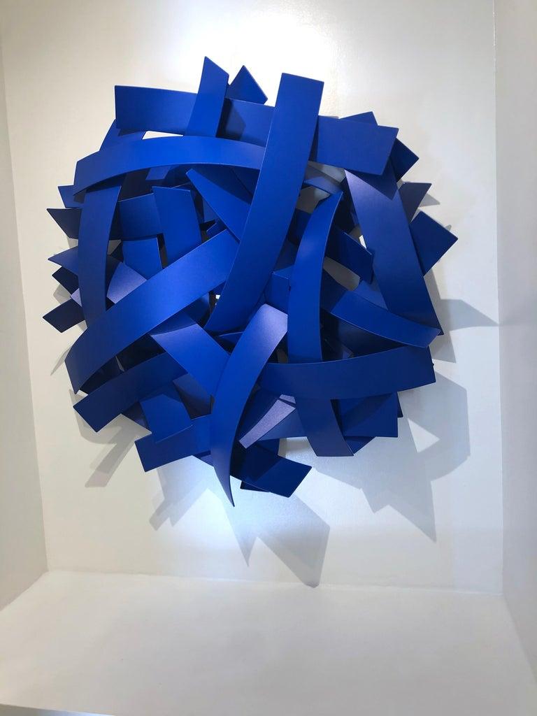 Blue Velvet, Matt Devine, Indoor/Outdoor Wall Sculpture, Aluminum, Blue Paint For Sale 4