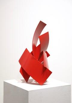 Push Study #3, 2020, Matt Devine, Abstract Steel w/ Bright Red Powdercoat