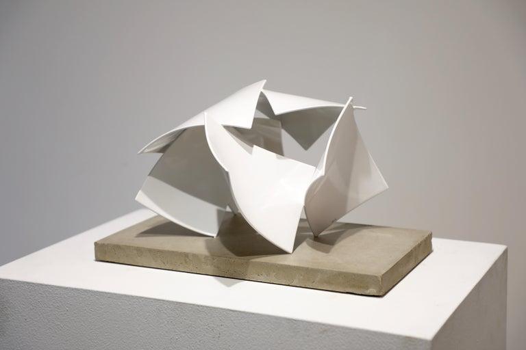 Studio Study 19-19 (Indoor Sculpture), Matt Devine, Steel, White Powdercoat - Gray Abstract Sculpture by Matt Devine