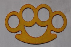 Knuckle Duster, computer cut, vibrant yellow, contemporary, original