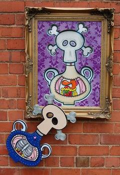 Poison Bottle, vibrant purple lace, juxtaposition, skulls, antique frame, signed