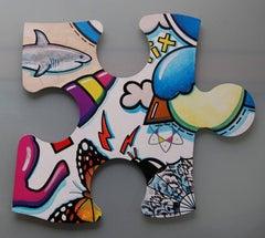 Puzzle Peace, multi-coloured, jigsaw, original, contemporary, personally signed