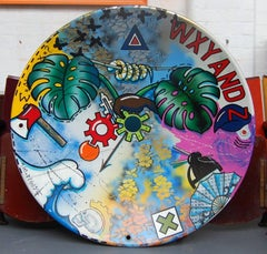 Satellites Gone, Abstract painting, steel spun satellite dish, vivid colours
