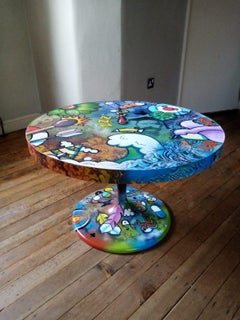Tea For Two art on a table acrylic paint on wood signed furniture interior