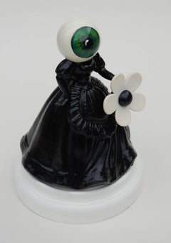 U Shall Go To The Eyeball, china figurine, painted eyeball, monochrome, original
