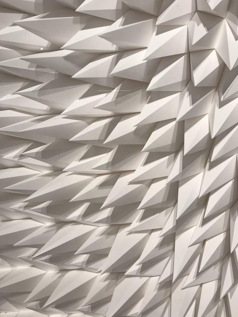 As a paper engineer, Matt Shlian's work is rooted in print media, book arts and commercial design. Beginning with an initial fold, a single action causes a transfer of energy to subsequent folds, which ultimately manifest in drawing and three