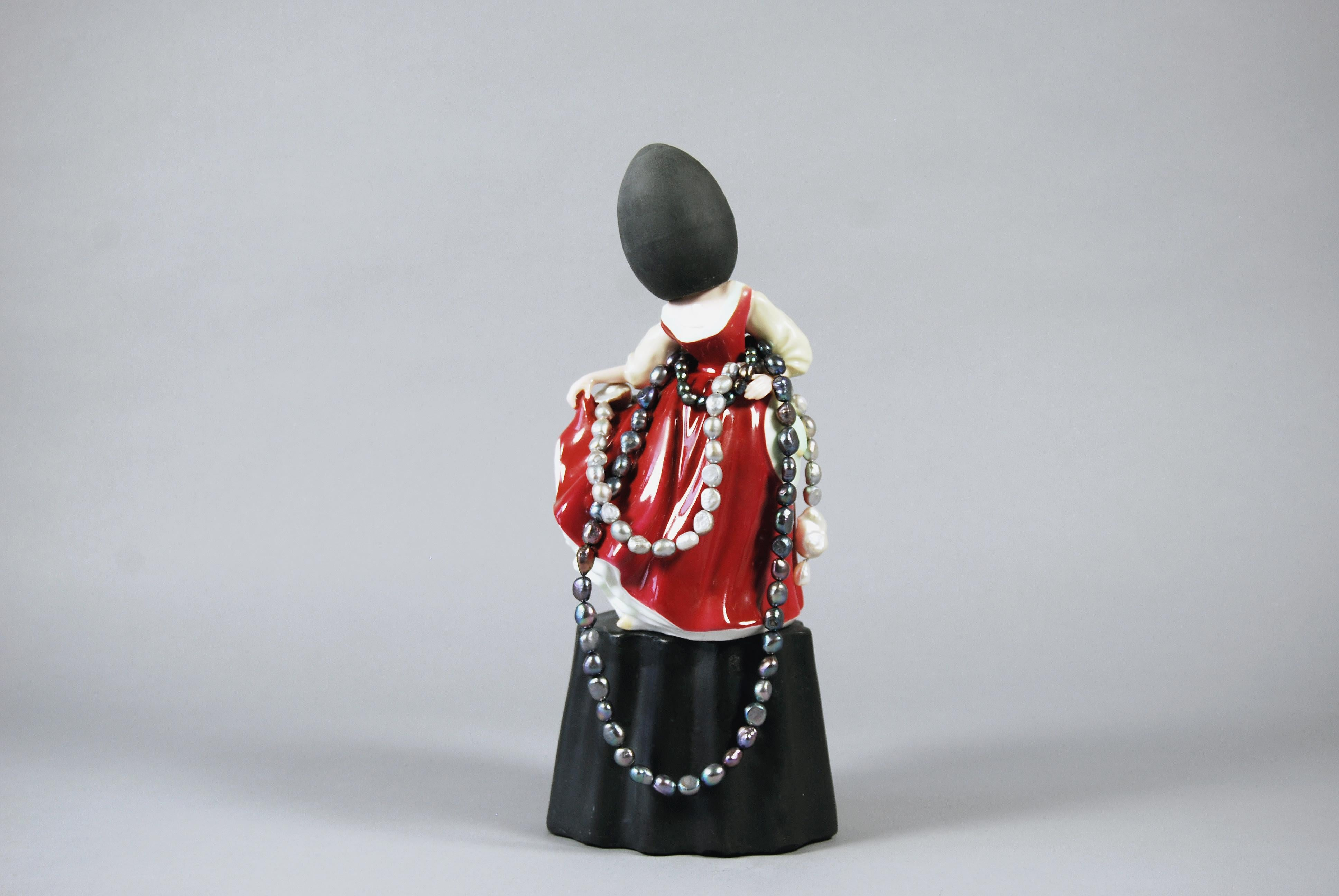 Matt Smith, Red Girl with Pearls, Black Parisian, Porcelain Freshwater Pearls
