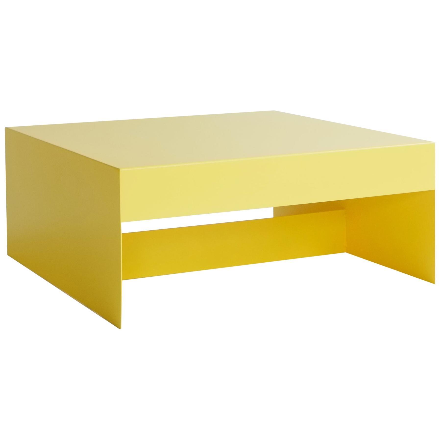 Matt Yellow, Single Form Square Aluminium Coffee Table, Customisable