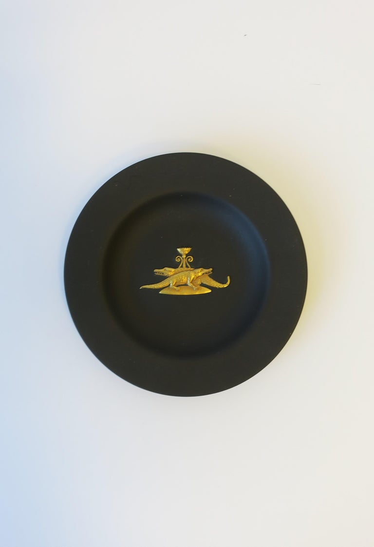 Neoclassical Revival English Matte Black Basalt and Gold Raised Relief Wedgwood Dish  For Sale