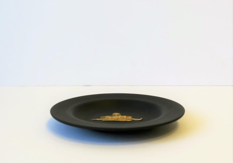 Gilt English Matte Black Basalt and Gold Raised Relief Wedgwood Dish  For Sale