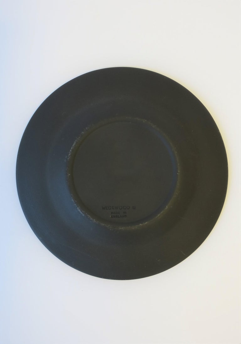 20th Century English Matte Black Basalt and Gold Raised Relief Wedgwood Dish  For Sale