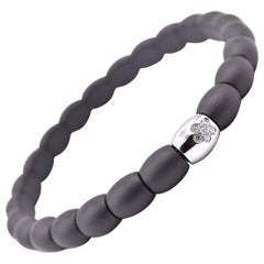 Matte Black Ceramic and 18 Karat White Gold Station Bracelet