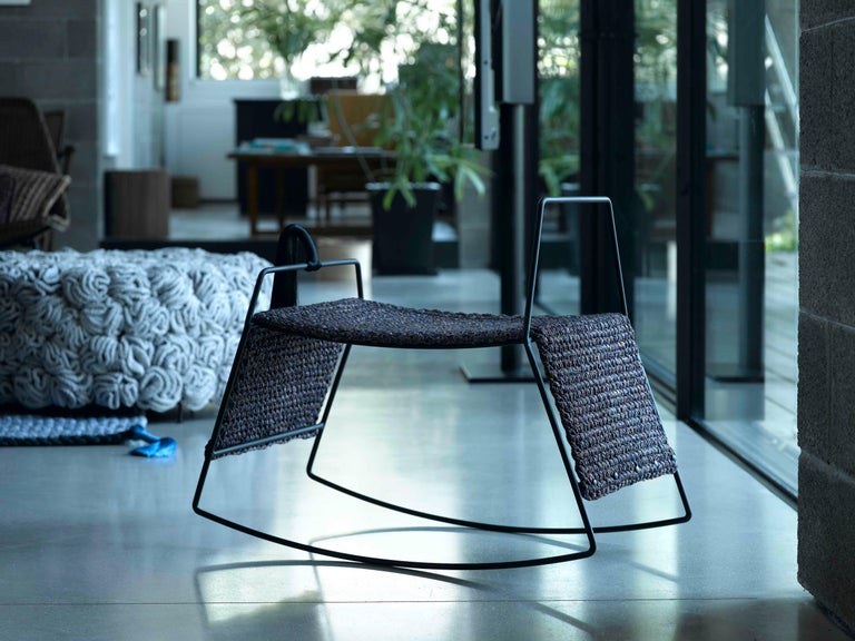 Matte Black Iron Handmade Textile Rocking Horse Stool with Rug Seat In New Condition For Sale In Tel Aviv, IL