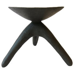 Matte Black Modern TOTEM, Chalice Top on Tripod Legs, Hand Built Ceramic