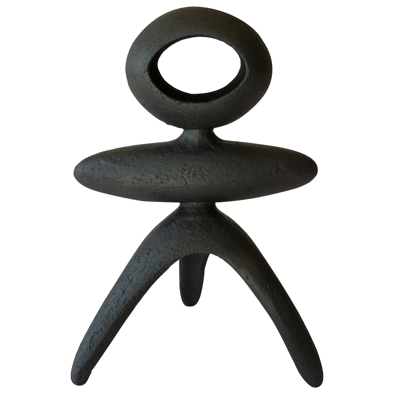 Matte Black Modern TOTEM, Open Oval Top on Tripod Legs, Hand Built Ceramic