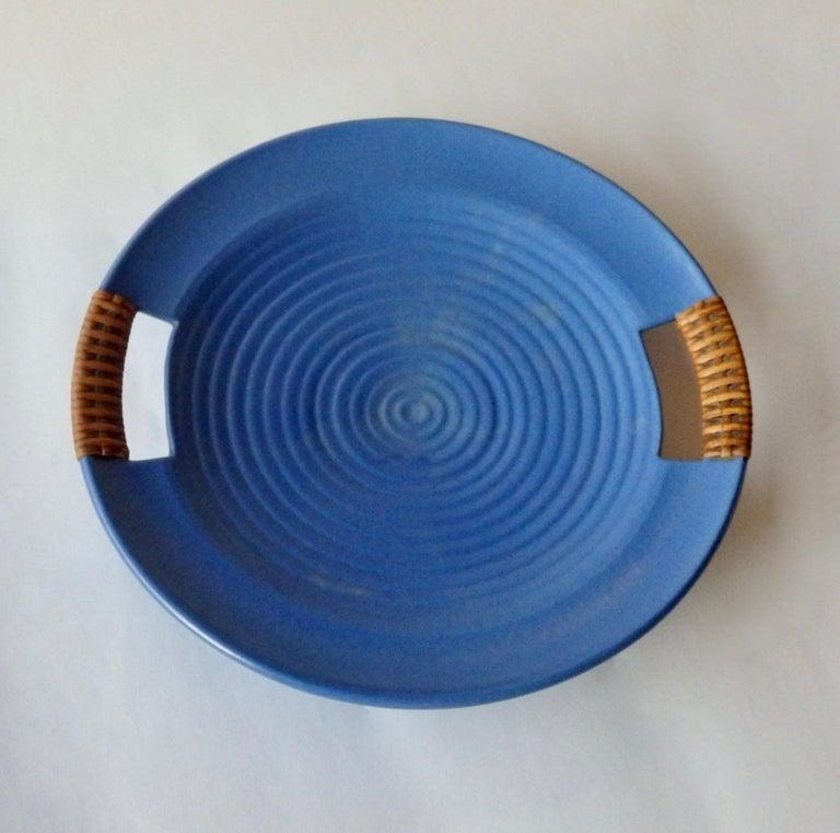 Mid-Century Modern Matte Blue Glaze Telmarck California Modern Pottery Serving Tray For Sale