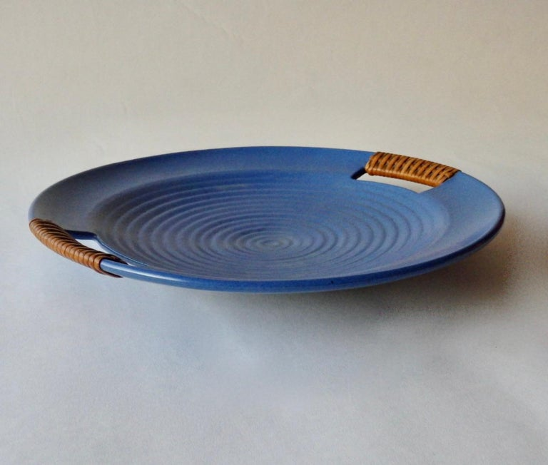 Hand-Crafted Matte Blue Glaze Telmarck California Modern Pottery Serving Tray For Sale