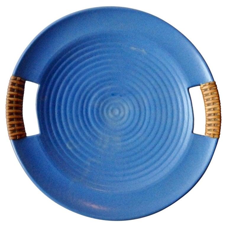 Matte Blue Glaze Telmarck California Modern Pottery Serving Tray For Sale