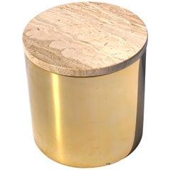 Matte Brass Drum Table with Travertine Top by Paul Mayen, Habitat International