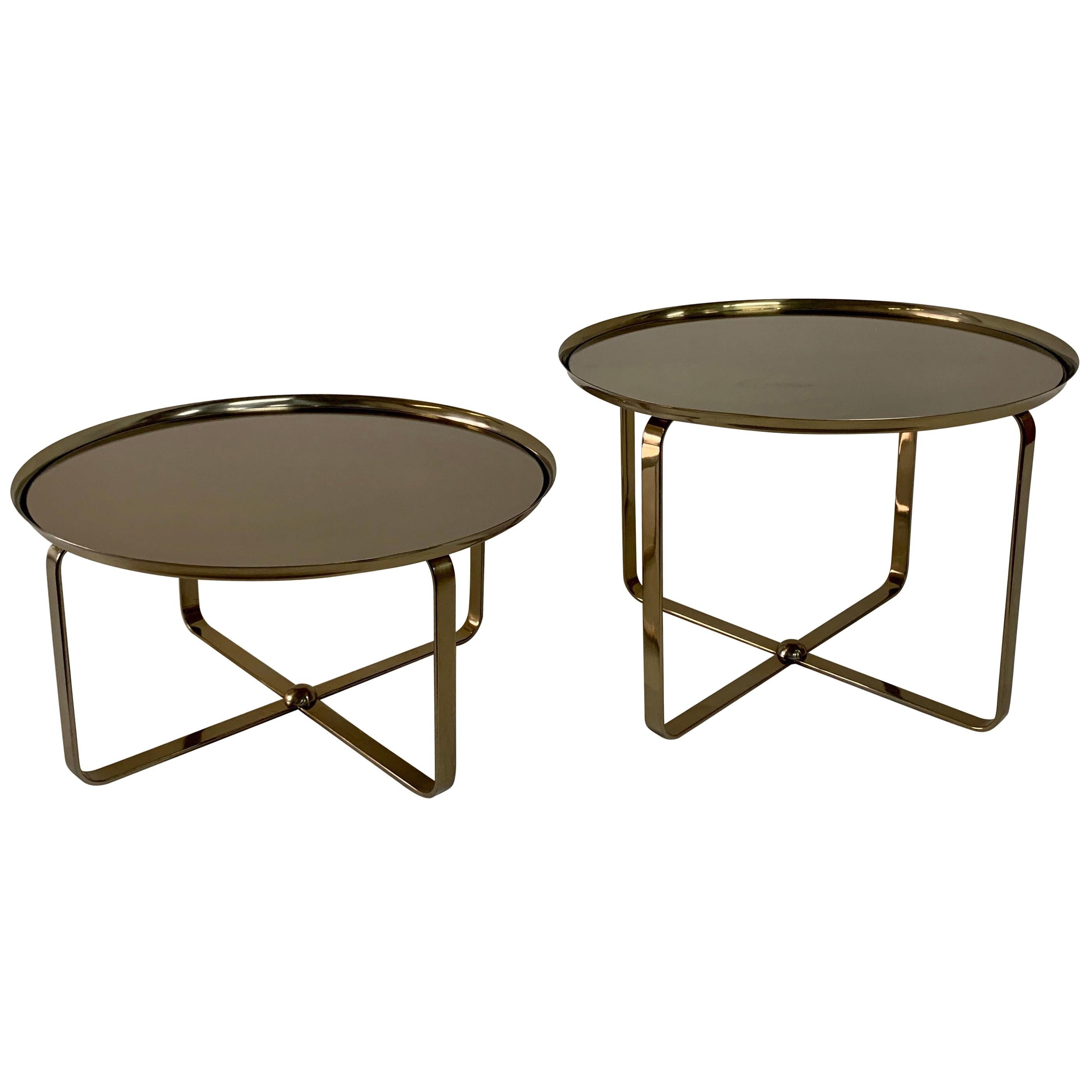 Matte Brass Finish Low Tiered Side Tables, Pair