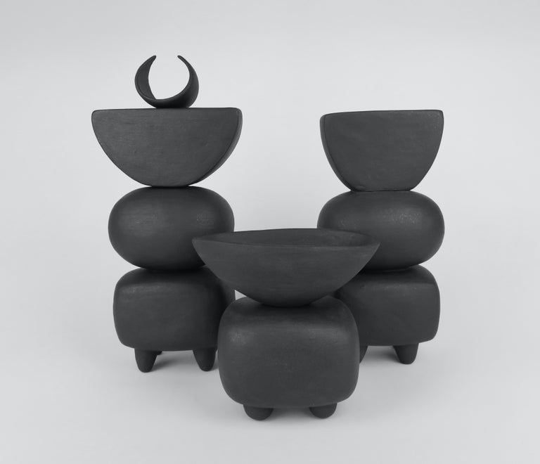 Matte Brown Ceramic TOTEM with Tiny Crescent Top on Soft Rectangle & Oval Forms For Sale 7