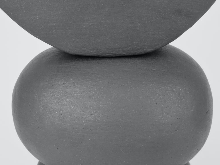 Matte Brown Ceramic TOTEM with Tiny Crescent Top on Soft Rectangle & Oval Forms For Sale 2