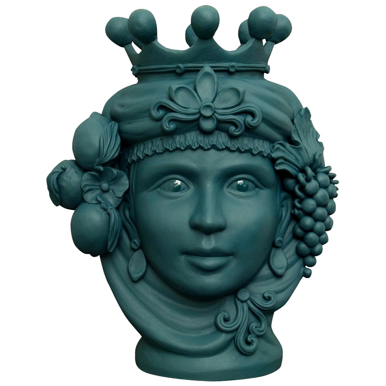 Matte Green Sicilian Terracotta Vase Designed by Stefania Boemi