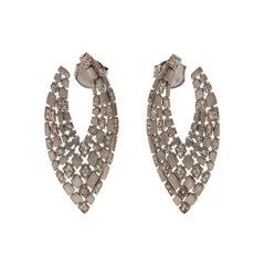 Matte Grey Diamond 'V' Earrings
