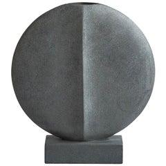 Matte Grey Large Round Ceramic Vase, Denmark, Contemporary