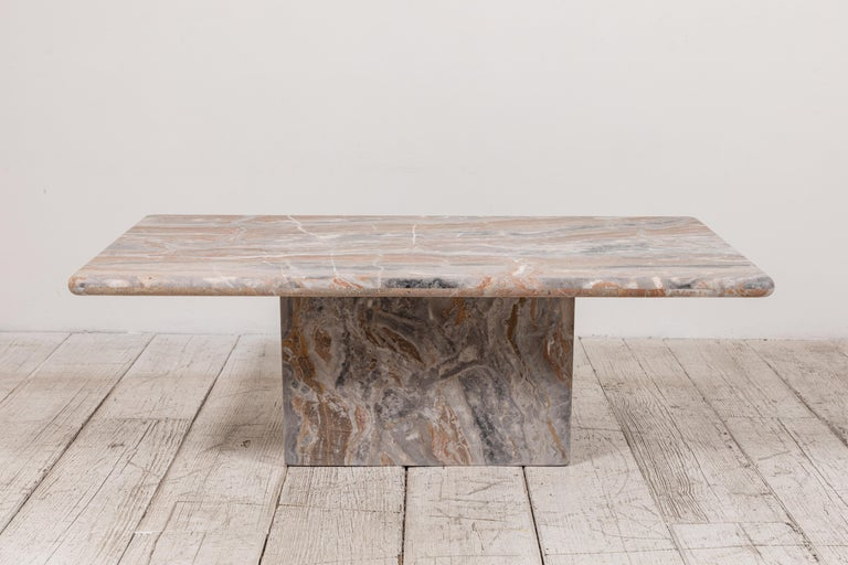Matte Marble Rectangular Coffee Table In Good Condition In Los Angeles, CA
