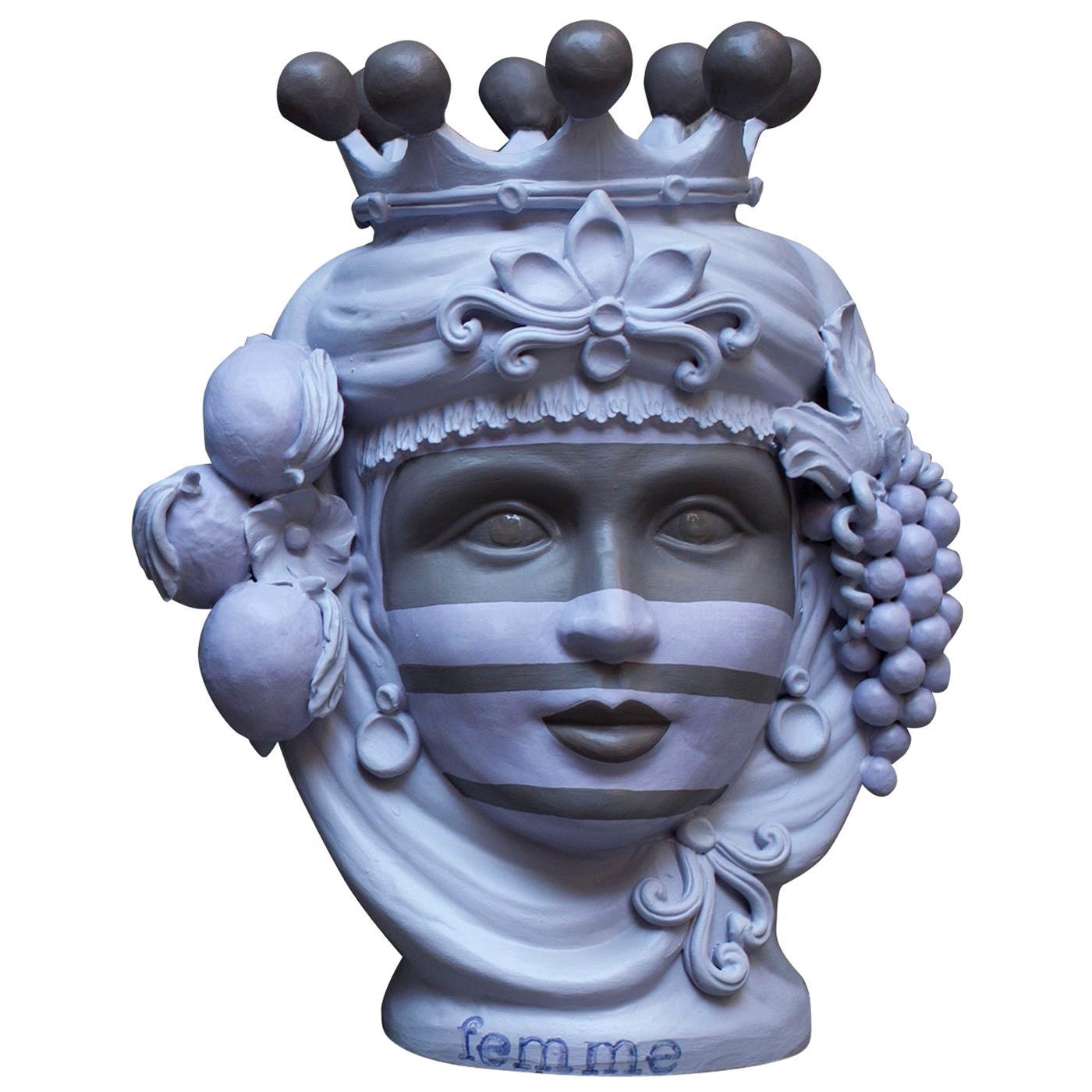 Matte Mauve Sicilian Terracotta Vase Designed by Stefania Boemi