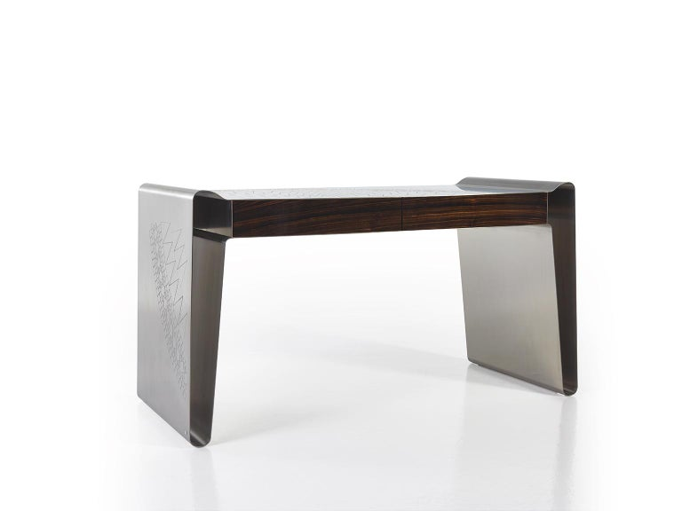 Modern Matte Stainless Steel Decorative Engraving Top Side Ebony Macassar Front Drawers For Sale