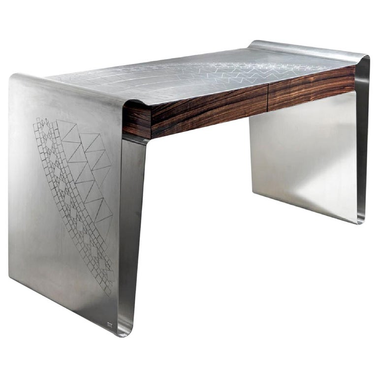 Matte Stainless Steel Decorative Engraving Top Side Ebony Macassar Front Drawers For Sale
