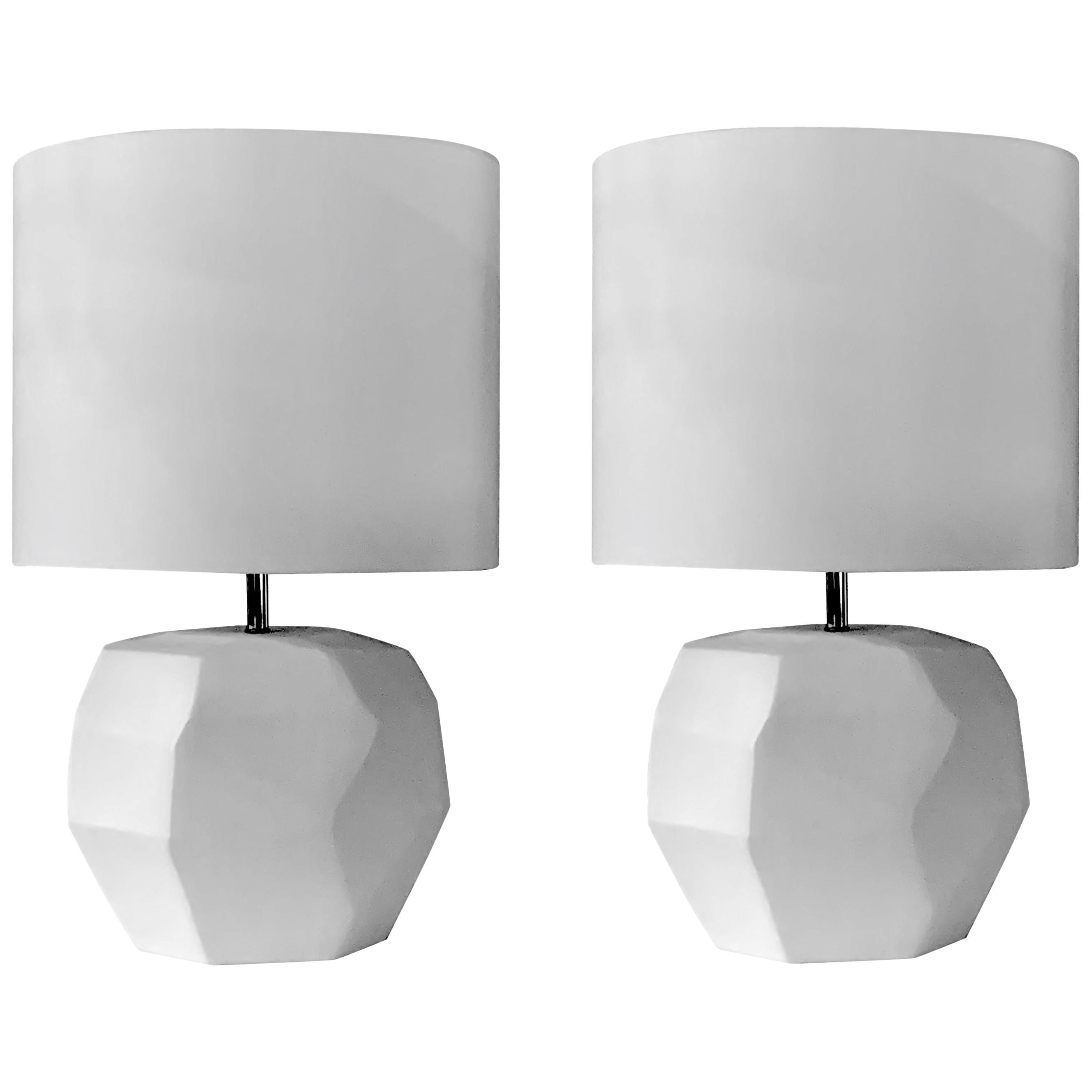 Matte White Glass Pair of Cubist Lamps, Romania, Contemporary