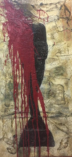 Bultrini Red and black- original abstract mixed media acrylic painting