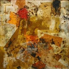 "- ""REPUDIO"".YELLOW original contemporary mixed media painting"