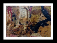 """""""GOLDEN AND BLACK"""" 2005 original contemporary mixed media painting"""