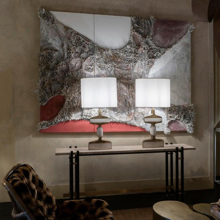 Matteo Giampaglia mixed-media abstract triptych wall art