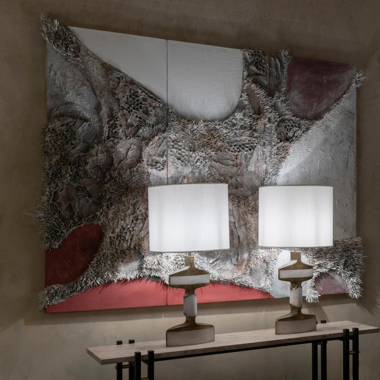 Italian Matteo Giampaglia Mixed-Media Abstract Triptych Wall Art, Italy, 2019 For Sale