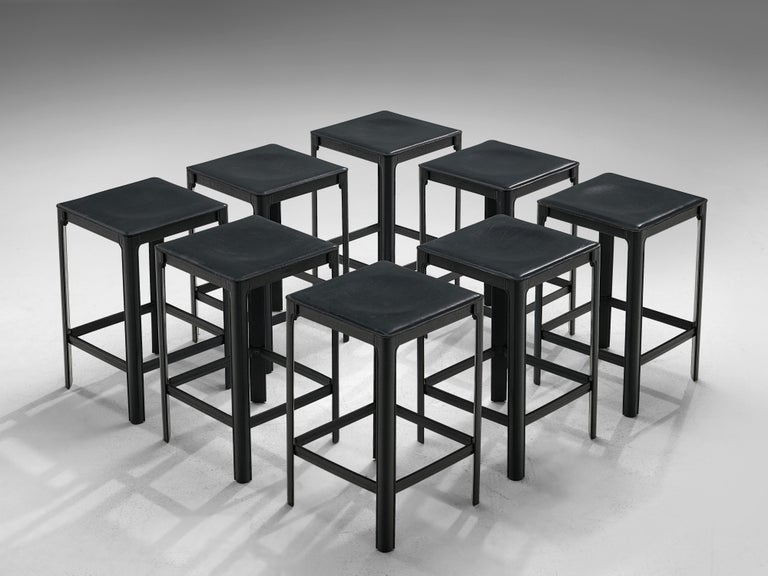 Matteo Grassi, stools, leather, metal, Italy, 1970s  Postmodern set of stools in black leather, designed by Matteo Grassi. The stools are completely covered in leather, whichis stitched and molded on to the metal frame, a type of architectural