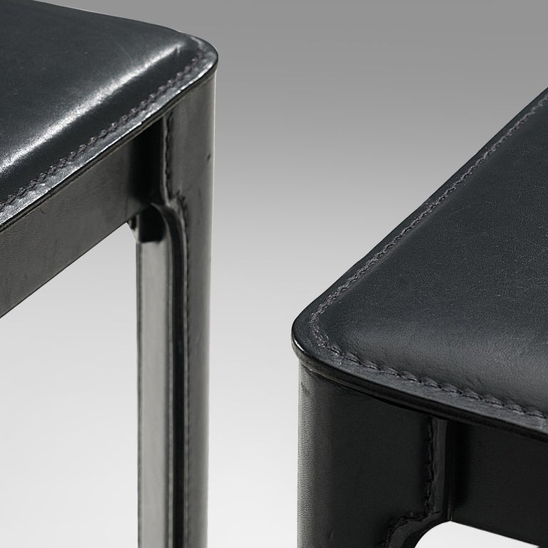 Post-Modern Matteo Grassi stools in Black Leather For Sale