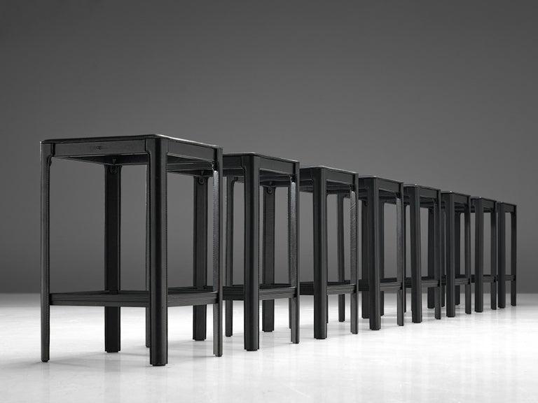 Italian Matteo Grassi stools in Black Leather For Sale