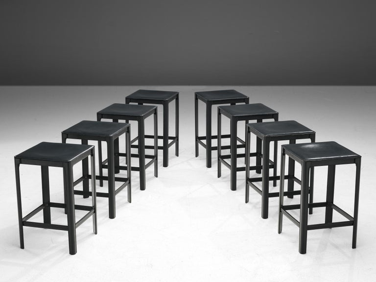 Late 20th Century Matteo Grassi stools in Black Leather For Sale