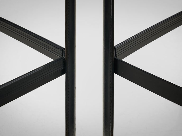 Metal Matteo Grassi stools in Black Leather For Sale