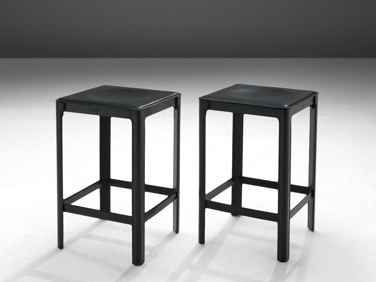 Matteo Grassi stools in Black Leather For Sale 1