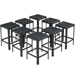 Matteo Grassi stools in Black Leather