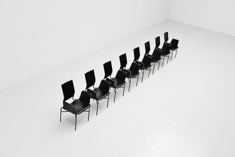 Italian Matteo Grassi Dining Chairs Black Leather, Italy, 1975 For Sale